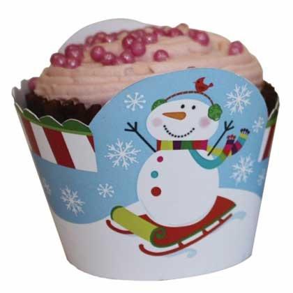 12 Wrappers à Cupcakes Joyeux Bonhomme de Neige