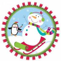 Contient : 1 x 8 Assiettes Joyeux Bonhomme de Neige