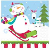 Contient : 1 x 16 Serviettes Joyeux Bonhomme de Neige