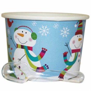 12 Pots à Glace Joyeux Bonhomme de Neige