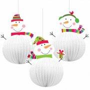 3 Boules Joyeux Bonhomme de Neige 3D � suspendre