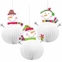 Contient : 1 x 3 Boules Joyeux Bonhomme de Neige 3D à suspendre
