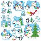 20 D�corations murales Joyeux Bonhomme de Neige Glitter