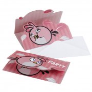 6 Invitations Pink Bird