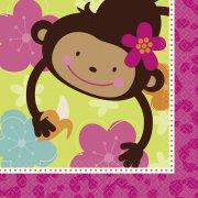 16 Serviettes Monkey Love