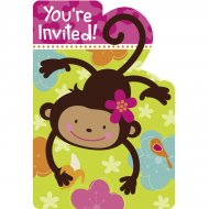 8 Invitations Monkey Love