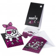 6 Invitations Pink Pirate