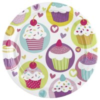 Contient : 1 x 8 Assiettes Sweet Cupcakes