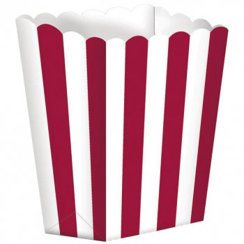5 Pots rayés Blanc/Rouge