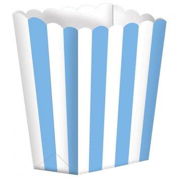 5 Pots rayés Blanc/Bleu Caraïbe