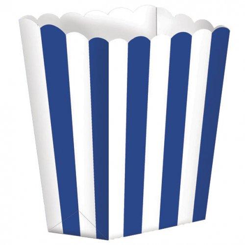 5 Pots rayés Blanc/Bleu foncé