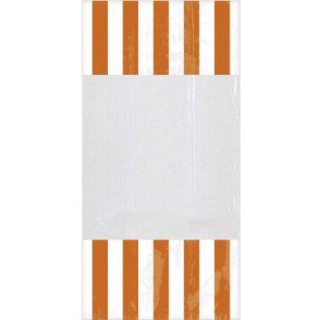 10 Sacs à Bonbons rayés Blanc/Orange