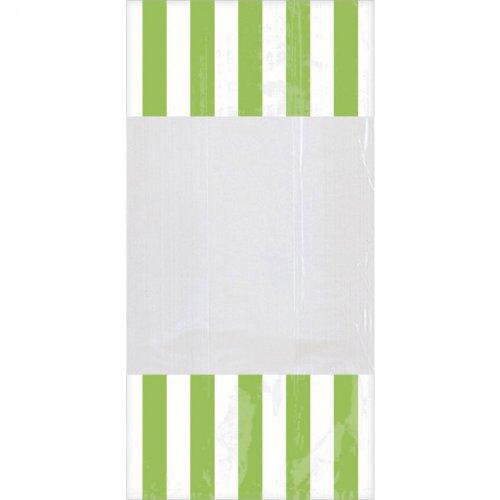 10 Sacs à Bonbons rayés Blanc/Vert