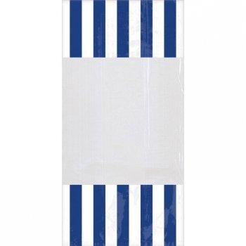 10 Sacs à Bonbons rayés Blanc/Bleu foncé