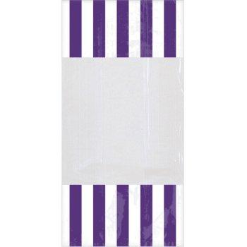 10 Sacs à Bonbons rayés Blanc/Violet