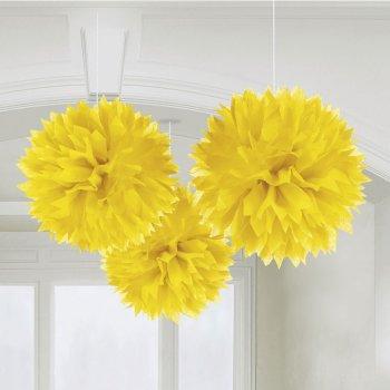 3 Boules Papier fleurs Jaune