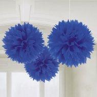 3 Boules Papier fleurs Bleu Outremer