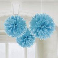 3 Boules Papier fleurs Bleu Turquoise
