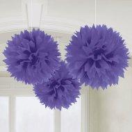 3 Boules Papier fleurs Violet