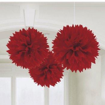 3 Boules Papier fleurs Rouge