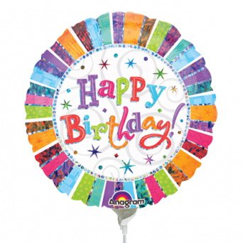Ballon sur tige Happy Birthday