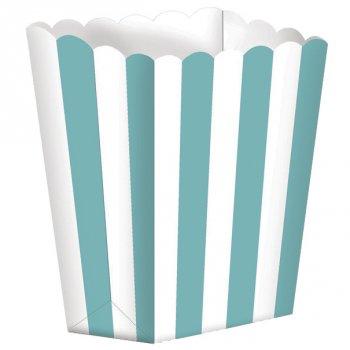 5 Pots rayés Blanc/Bleu