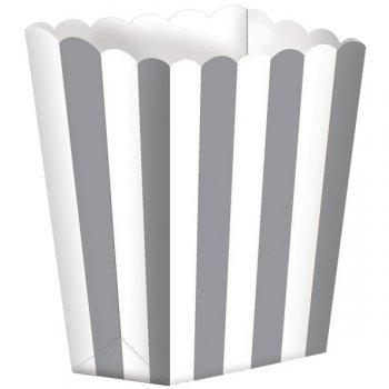 5 Pots rayés Blanc/Argent