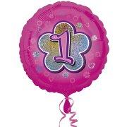 Ballon H�lium Pink Flowers 1 an