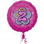 Ballon H�lium Pink Flowers 2 ans