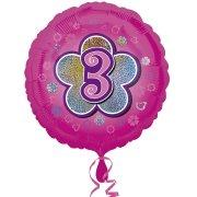 Ballon Hélium Pink Flowers 3 ans
