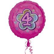 Ballon Gonflé à l'Hélium Pink Flowers 4 ans
