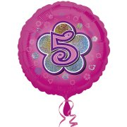 Ballon Gonflé à l'Hélium Pink Flowers 5 ans
