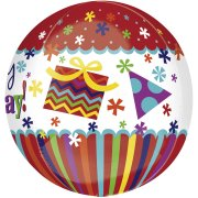 Ballon orbz Hélium Happy Birthday