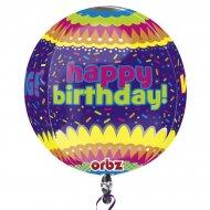 Ballon orbz Hélium Happy Birthday confettis