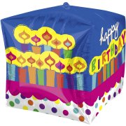 Ballon Mylar Cube Happy Birthday Bougies