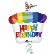 Ballon Mylar Cupcake Rainbow Happy Birthday