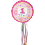 Pull Pinata 1rst Birthday rose D�pliable