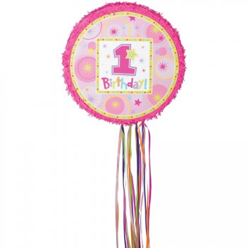Pull Pinata 1rst Birthday rose Dépliable