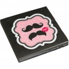 20 Serviettes Moustache Kiss
