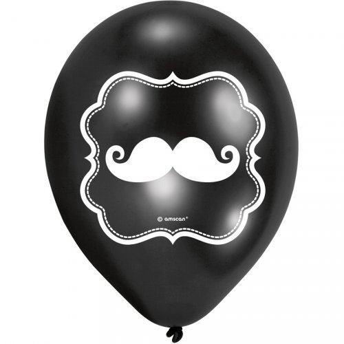 6 Ballons Moustache Kiss