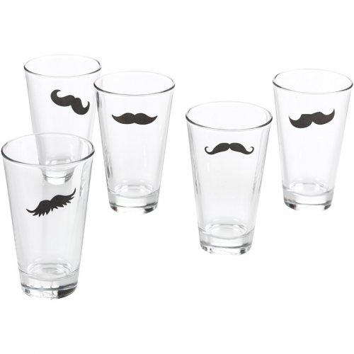 16 Autocollants Moustache pour verres