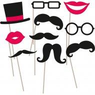 Kit Photo Booth Moustache Kiss
