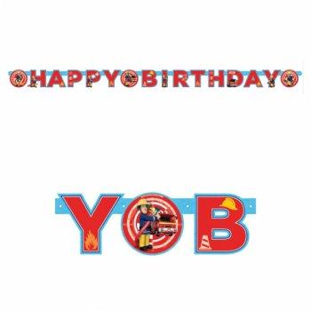 Guirlande lettres Happy Birthday Sam le Pompier