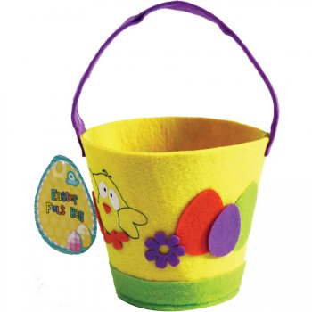 Petit Panier Jaune Motifs de Pâques