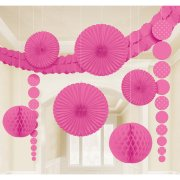 Set 8 D�corations et guirlande Rose fuchsia