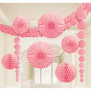 Set 8 D�coration et guirlande Rose P�le