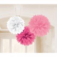3 Boules Papier Fleurs Roses et Blanche
