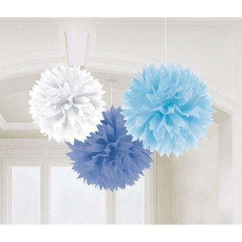 3 Boules Papier Fleurs Bleues et Blanche
