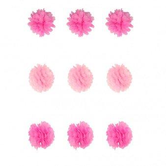 Guirlande Boules papier 3D rose et fuchsia