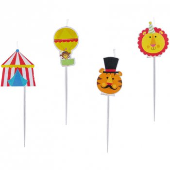 4 Mini Bougies à piquer Fisher Price Circus
